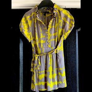 BCBG Grey & Lime ruffle blouse
